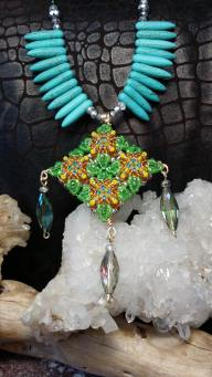 Green & Brown Diamond Patience in Bloom Necklace